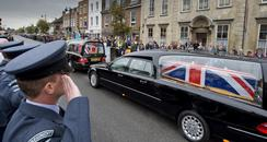Coffins at repatriation at Wootton Bassett
