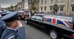 Coffins at repatriation at Wootton Bassett