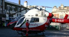 Herts Air Ambulance landing in Hitchin