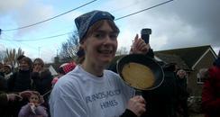 Pancake race winner