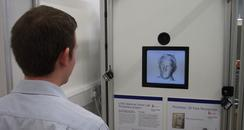 man using face recognition nose scanner