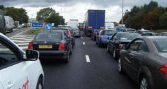 Huge tailbacks on the M1