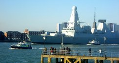 HMS Daring leaving Portsmouth