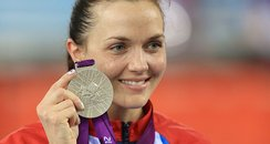 Victoria Pendleton with her silver olympic medal