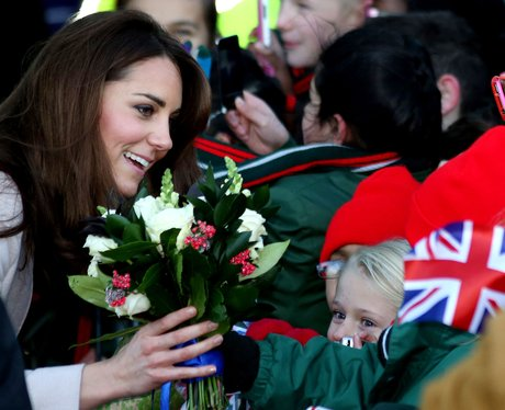 The Duchess of Cambridge is given roses