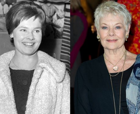 A young Judi Dench and Dame Judi Dench age 78