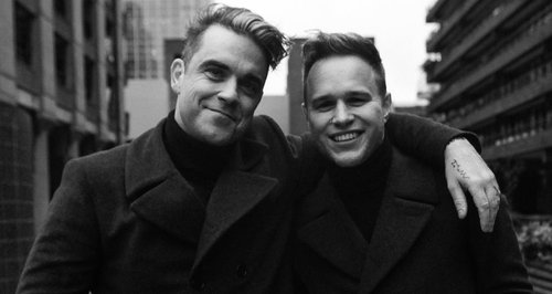Robbie Williams and Olly Murs in 2014