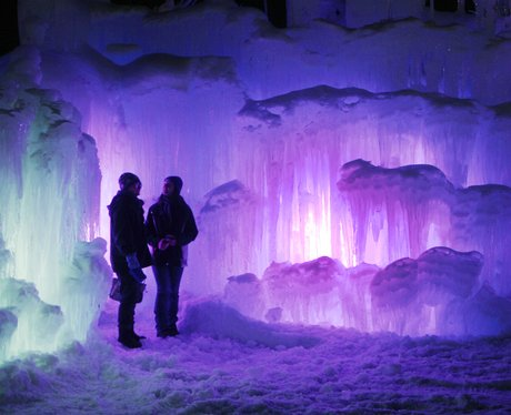 People Visit The Beautiful Ice Castle In Lincoln New