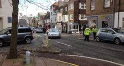The cordoned off Queens Road