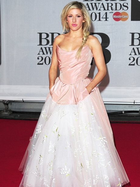 Ellie Goulding on the red carpet in a pale pink princess tulle gown