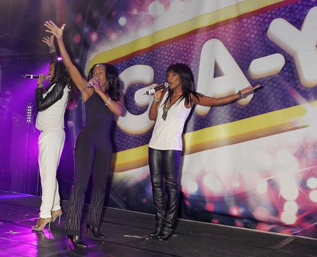 Vernie and Easther Bennett & Kelle Bryan on stage at G-A-Y