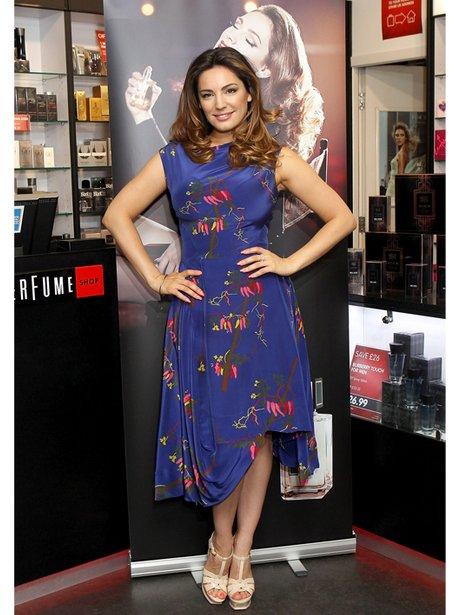 Kelly Brook in blue floral dress