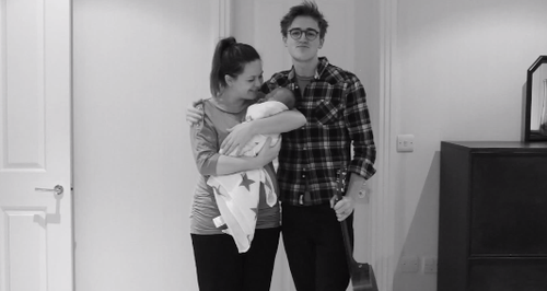 Tom Fletcher and Giovanna holding their baby