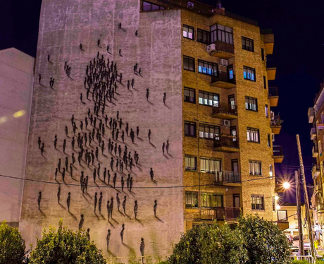 people drawn on a buiding