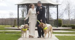 A couple & their dogs on their wedding day