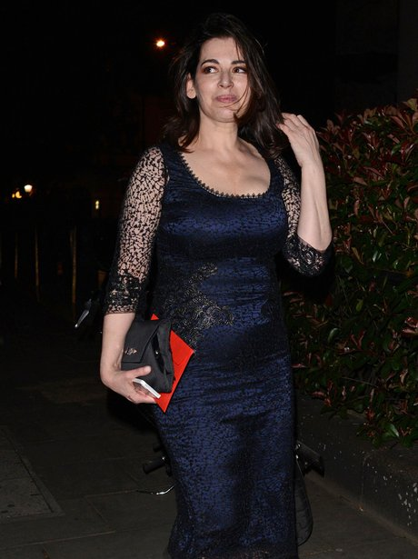 Nigella Lawson wearing a navy dress