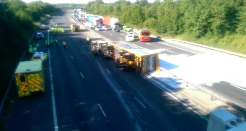 M11 Lorry Overturned