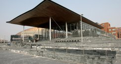 Outside of the Senedd in Cardiff Bay