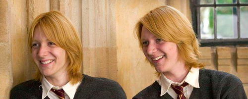 The Weasley Twins on set