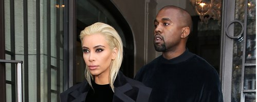 Kanye West and Kim Kasdashian with Blonde hair