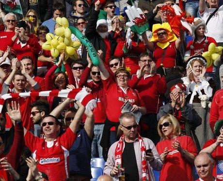 Wales fans celebrate in Rome