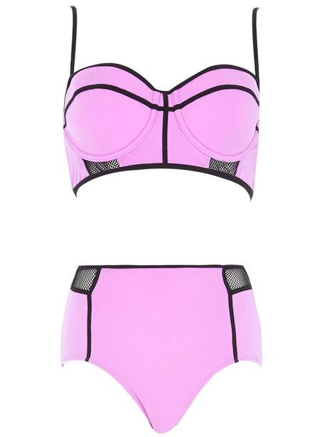 River Island Purple Mesh Bustier Bikini Top, £18 And Bottoms, £14