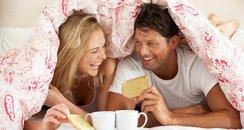Man, Woman, Breakfast, Bed
