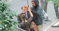 Rupert Grint on set in Poland