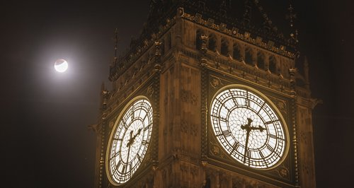 The Super Moon behind big ben 2015