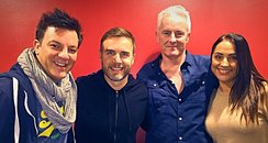 Joel and Lorna with Gary Barlow and Tim Firth