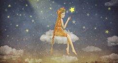 star lady sitting on cloud cartoon