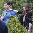 Dakota Johnson and Jamie Dornan on set Fifty Shade