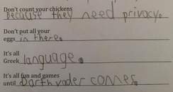 Kid's homework comment