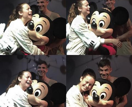 Brie Larson with Micky Mouse