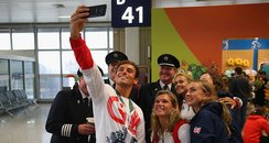 Tom Daley taking a group selfie post Rio 2016