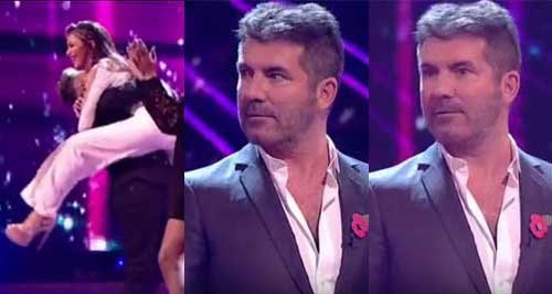 Simon Cowell and Nicole Scherzinger X Factor jump