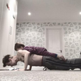 Tom Fletcher does press ups with son on his back
