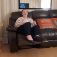 Mum singing on the sofa