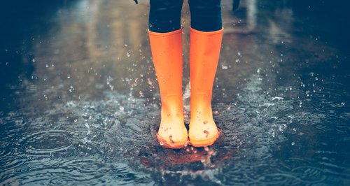 Wellies in the rain
