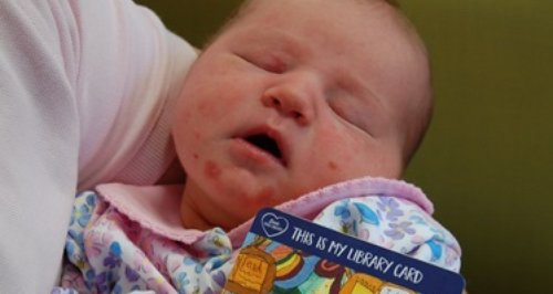Hampshire baby issued with library card